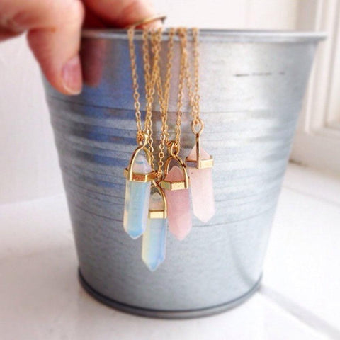Hexagon Opal Crystals Pendant Long Link Chain Necklace