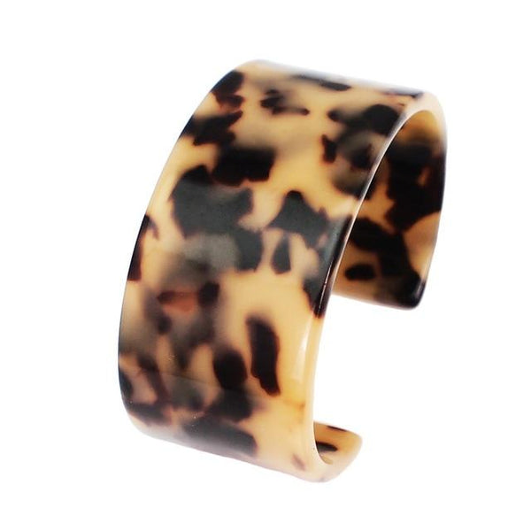 Leopard Resin Multicolor Adjustable Charm Cuff Bracelet