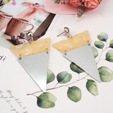 Triangle Shape Metal Statement Long Dangle Earrings