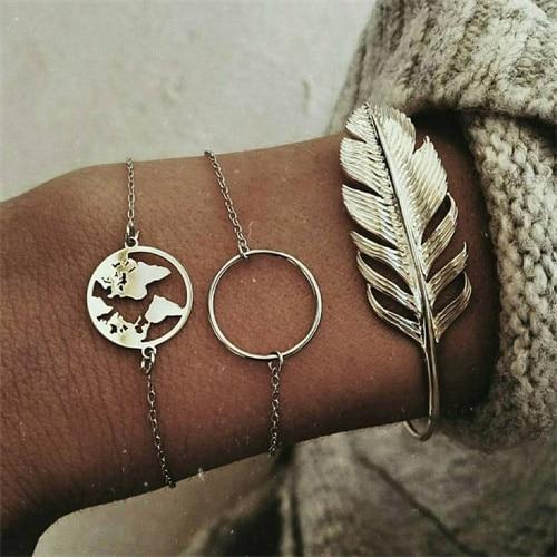 Vintage Map Big Round Silver Feather/Leaf Bracelet Set