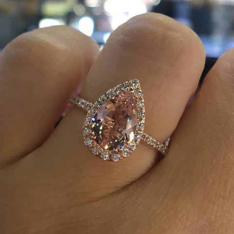 Rose Gold Color Cubic Zirconia Pear Shape Ring