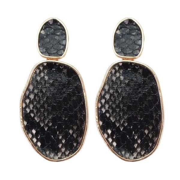 Snake Print Metal Statement Leather Dangle Earrings