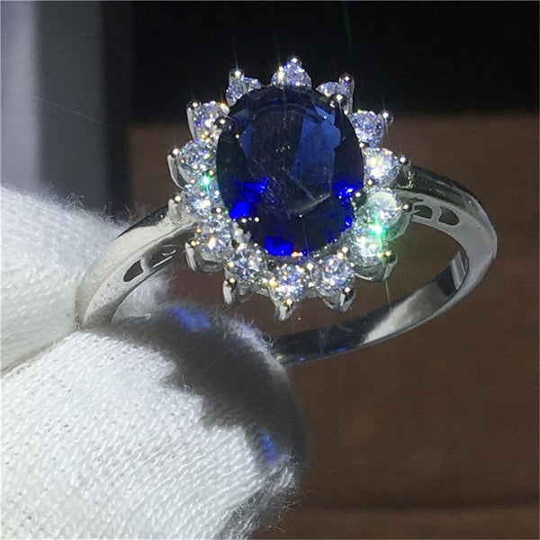 Large Oval Shape Blue Zircon Crystal Flower Statement Ring
