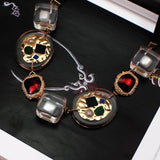 Transparent Metal Strand Multicolored Pendant Choker Necklace