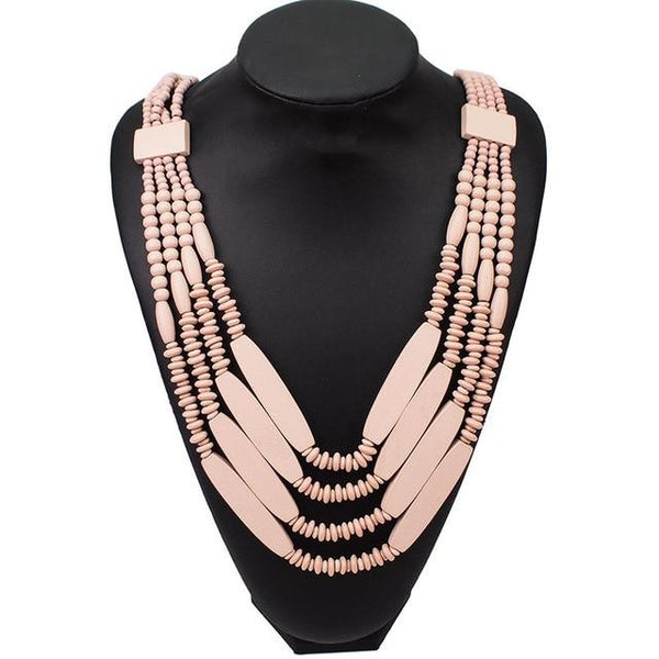 Multilayer Wood Beaded Choker Necklace