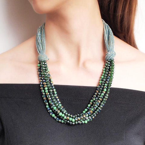 Silk Rope Chunky Multilayer Crystal Necklace