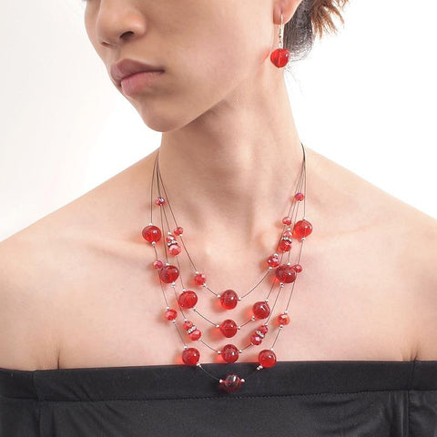 Multi Layered Beaded Crystal Necklace And Earrings Set