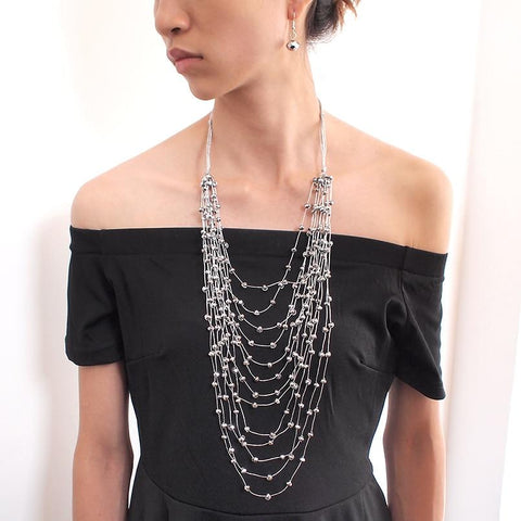 Multilayer Crystal Beaded Tassels Necklace And Earrings Set