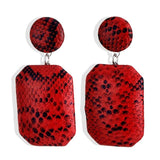 Snakeskin Print Different Geometric Pattern Leather Dangle Drop Earrings