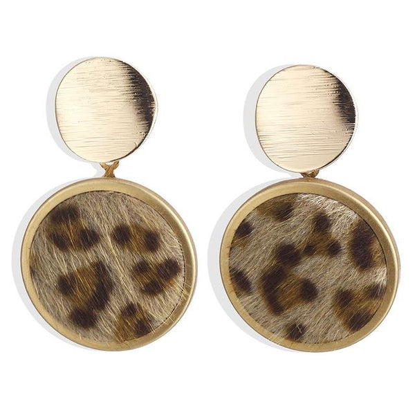 Round, Square And Rectangle Shape Velvet Leopard Print Drop Earrings