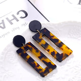 Long Acrylic Rectangular Shape Leopard Pattern Drop Earrings