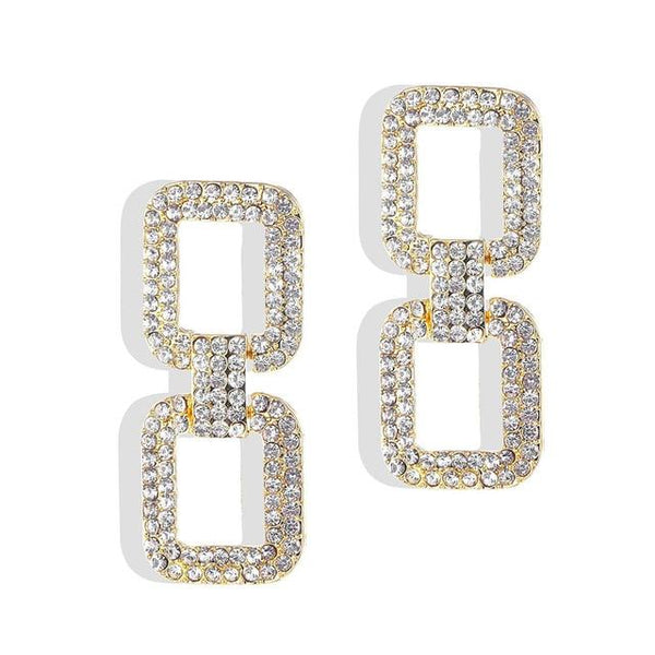 Shiny Crystal Big Square Rhinestone Dangle Drop Earrings