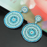 Round Shape Resin Beads Big Dangle Drop Charm Earrings