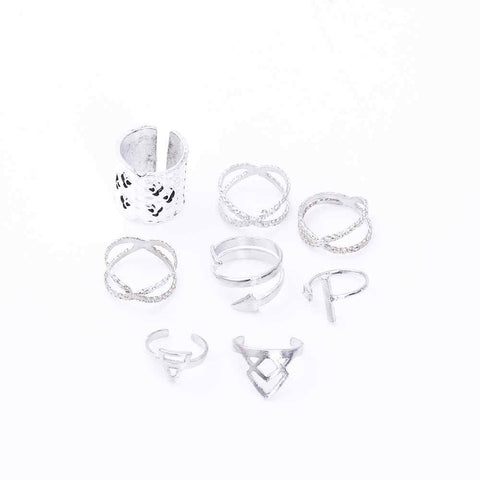 Anti Silver Color Infinity Arrow Punk Rings Set - Ring - LoxLux Jewelry