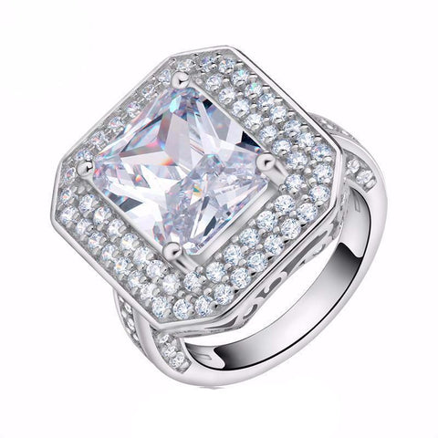 Big Size 6 Ct Cushion Cut AAA Austrian Cubic Zirconia Ring - Ring - LoxLux Jewelry