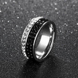 Cubic Zirconia and Ebony Black Cubic Zircon Pave Infinity Ring - Ring - LoxLux Jewelry