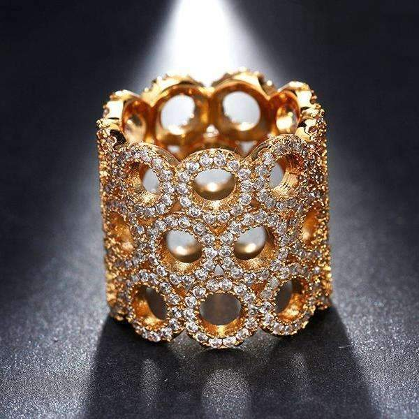 Cubic Zirconia Infinity Shape Gold Color 18MM Width Ring - Ring - LoxLux Jewelry