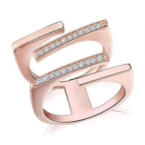 Cubic Zirconia Rose Gold/Silver Geometric Ring - Ring - LoxLux Jewelry