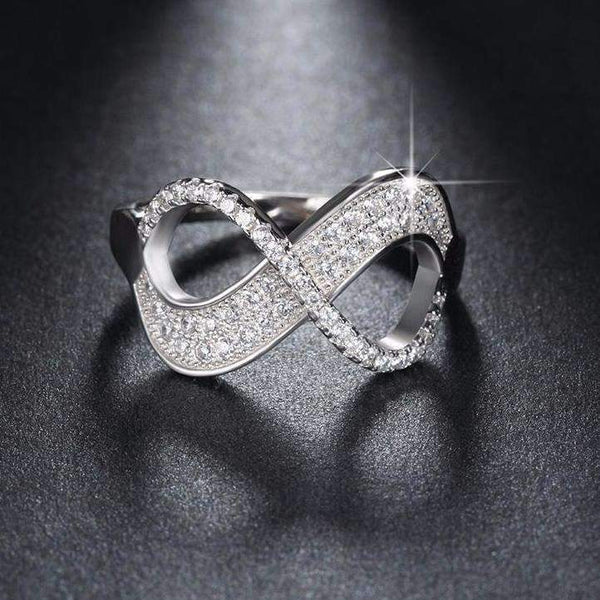 Cubic Zirconia Silver Color Infinity Ring - Ring - LoxLux Jewelry