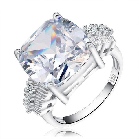 Cubic Zirconia Silver Color Square 8 Carat Cut Cubic Zircon Ring - Ring - LoxLux Jewelry