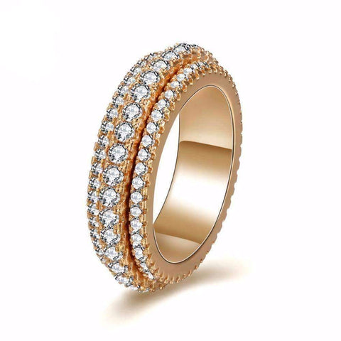 Cubic Zirconia Triple Stacking Stackable Shiny Gold Colored Cubic Zircon Round Ring - Ring - LoxLux Jewelry