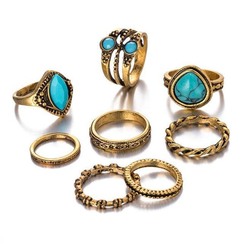 Natural Stone Gold Knuckle Stackable Rings Set - Ring - LoxLux Jewelry