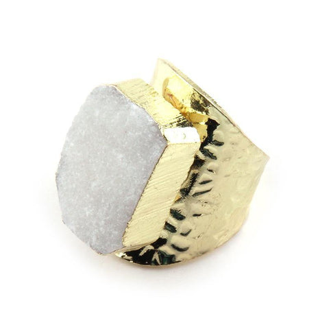 Natural Stone Irregular Druzy Crystal Ring - Ring - LoxLux Jewelry