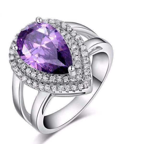 Ring Purple Zircon Cubic Zirconia 6ct Micro Pave Ring LoxLux Jewelry