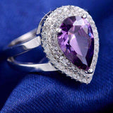 Purple Zircon Cubic Zirconia 6ct Micro Pave Ring - Ring - LoxLux Jewelry