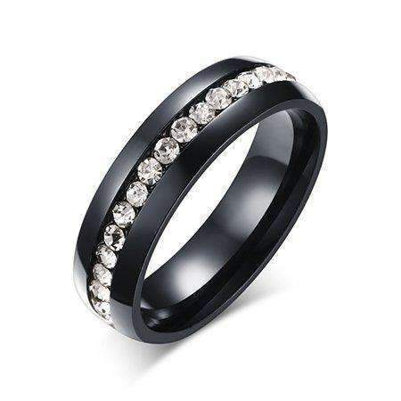 Stainless Steel Cubic Zirconia Sliver Color Ring - Ring - LoxLux Jewelry
