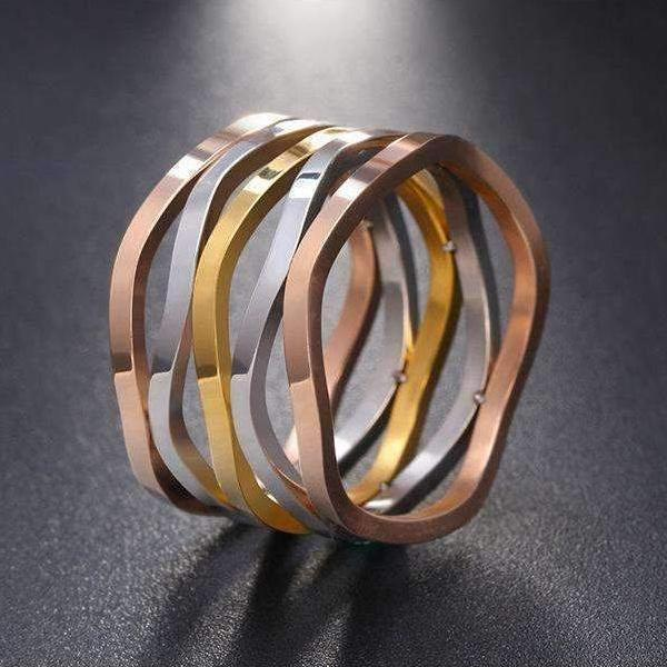 Ring Stainless Steel  Gold / Rose Gold / Silver Trendy Stackable Cuff Ring LoxLux Jewelry
