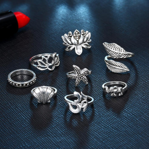 Starfish, Shell, Leaf, Lotus And Turtle Hollow Ring Set - Ring - LoxLux Jewelry