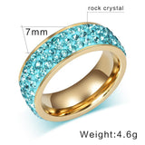 Ring Three Row Crystal Colored Gemstone Stainless Steel Ring LoxLux Jewelry