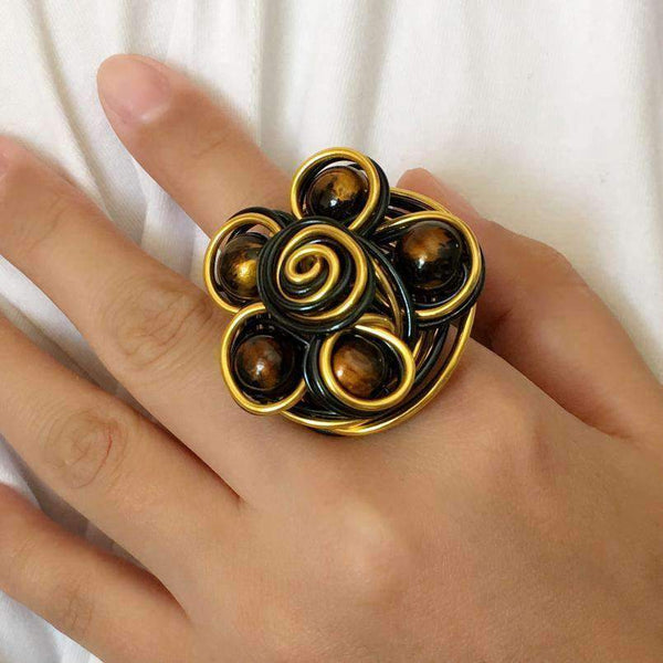 Trendy Handmade Wire Big Flower Vintage Ring - Ring - LoxLux Jewelry