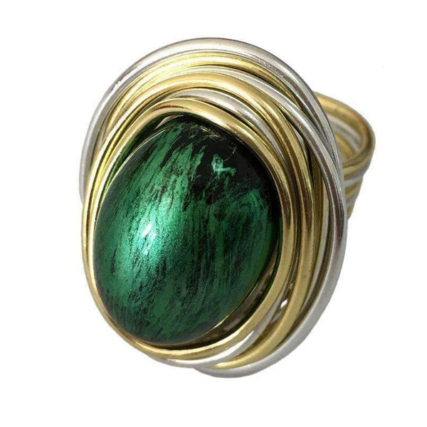 Ring Vintage Metal Wire Wrap Green Acrylic Ring LoxLux Jewelry