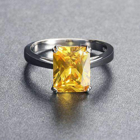 Ring Yellow Zircon 4 ct Square Cut Ring LoxLux Jewelry