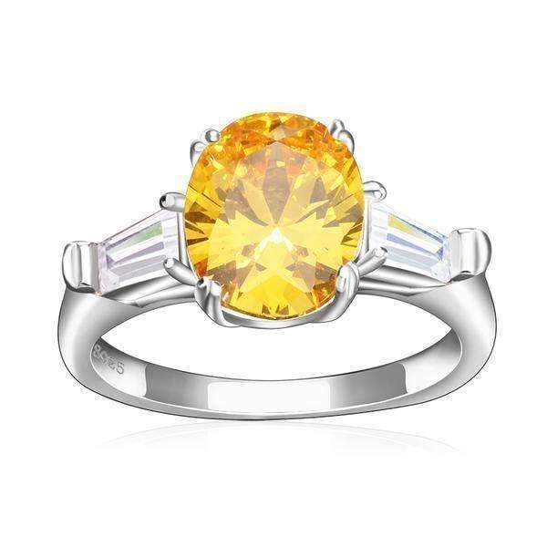 Yellow Zircon Cubic Zirconia 3.5 ct Oval Cut Ring - Ring - LoxLux Jewelry