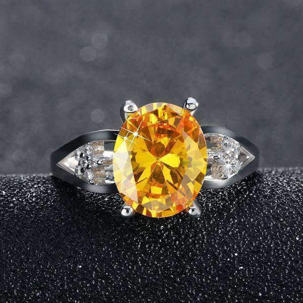 Ring Yellow Zircon Cubic Zirconia 4ct Oval Cut Ring LoxLux Jewelry