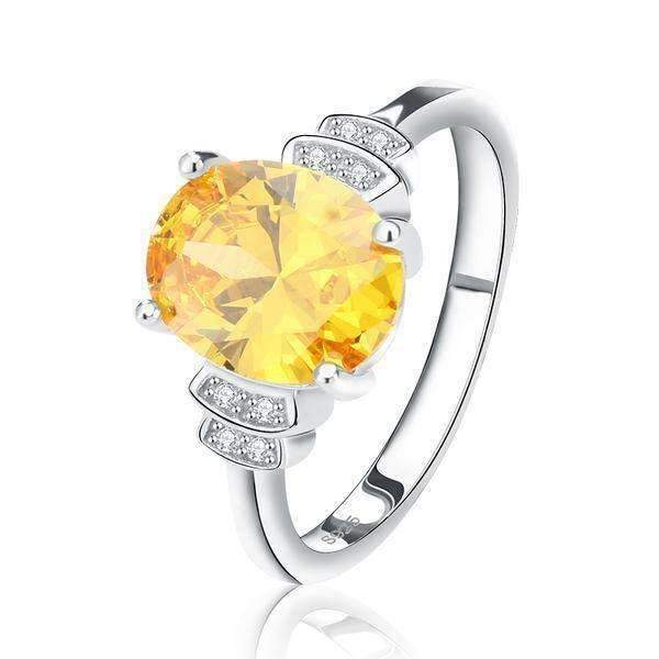 Yellow Zircon Cubic Zirconia 4ct Solitaire Ring - Ring - LoxLux Jewelry