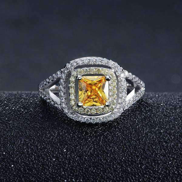 Ring Yellow Zircon Cubic Zirconia Princess Cut Ring LoxLux Jewelry