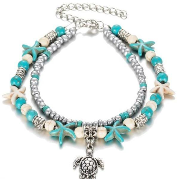Sea Turtle Imitation Pearl Starfish Charm Anklet LoxLux Jewelry