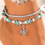Sea Turtle Imitation Pearl Starfish Charm Anklet -  - LoxLux Jewelry