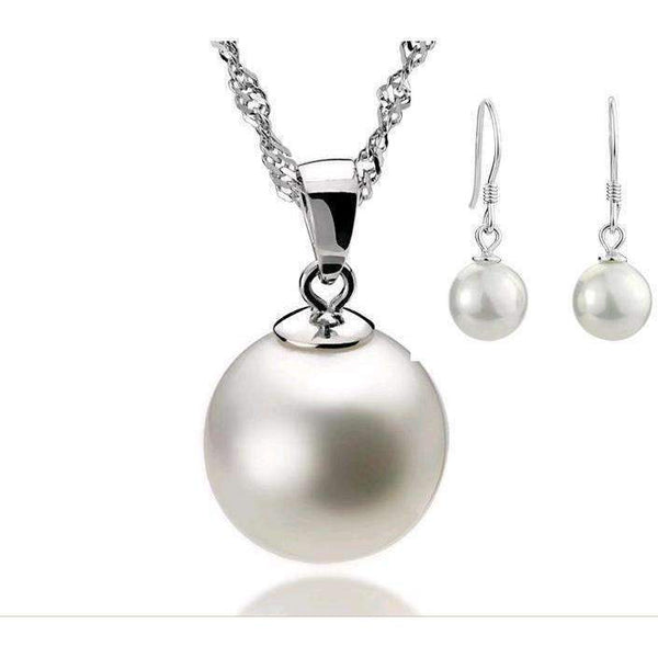 Simulated Pearl Silver Color Jewelry Set LoxLux Jewelry