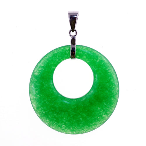 Jade 4mylady jade circle 33mm green pendant mozeypictures Gallery