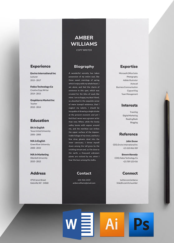 Copywriter Resume Template - Easy To Edit Resumes For Download