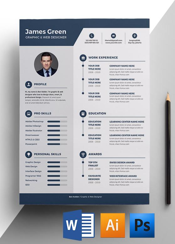 graphic web designer resume template - Adobe Resume Template