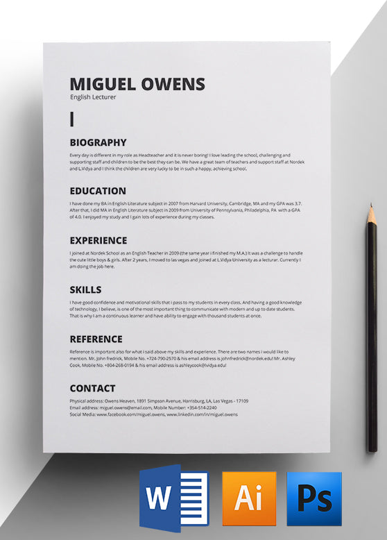 Minimalist Resume Template - Easy To Edit Download - Get Hired