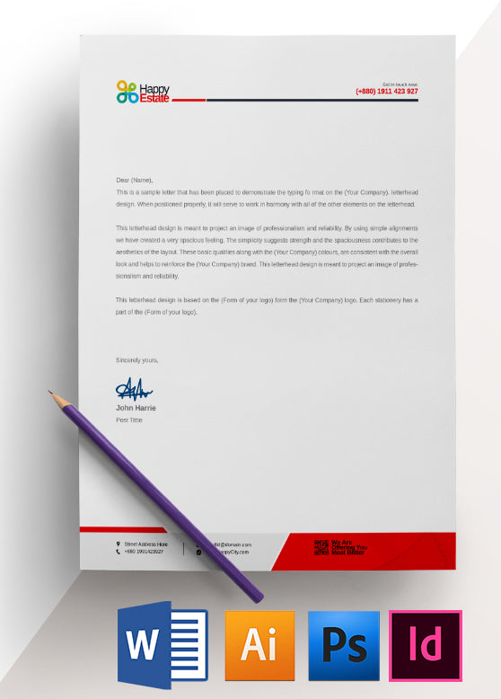 office letterhead template 5 colors included - Resume Letterhead Templates