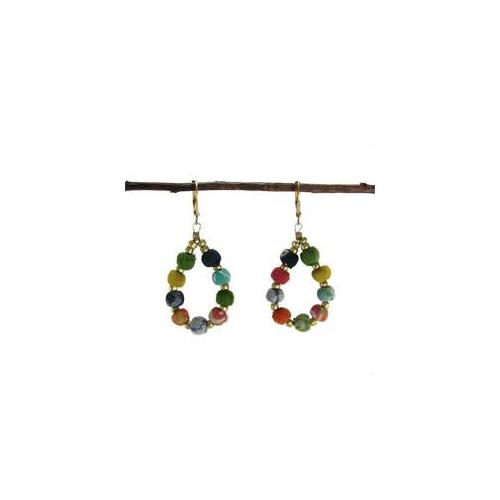 Kantha Beaded Teardrop Earrings