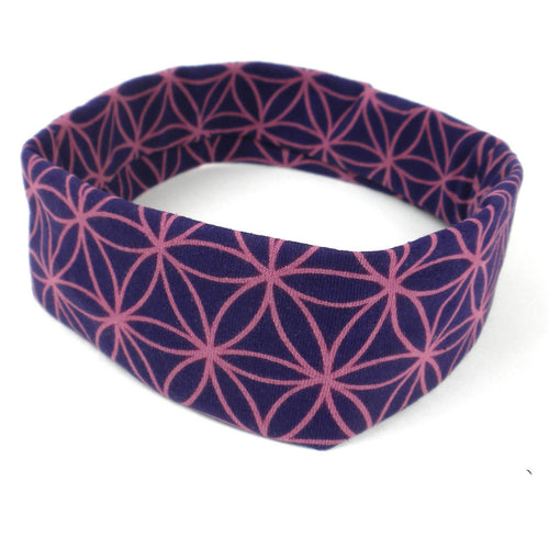 Flower of Life Yoga Headband - Purple